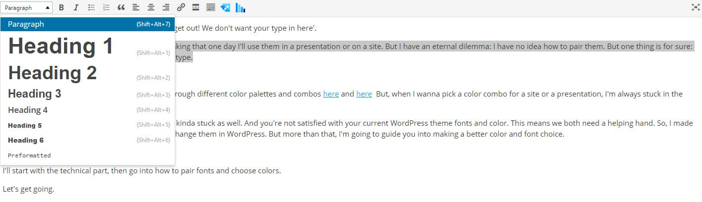 Making font changes in the Classic WordPress Editor