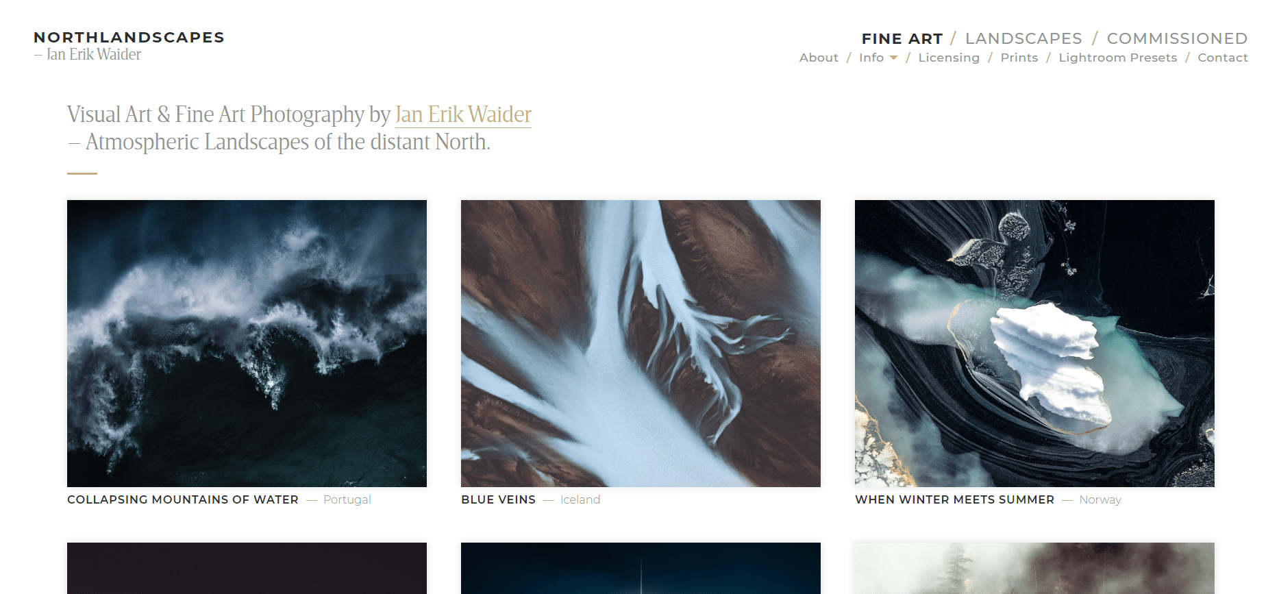 photographer website example for your inspiration