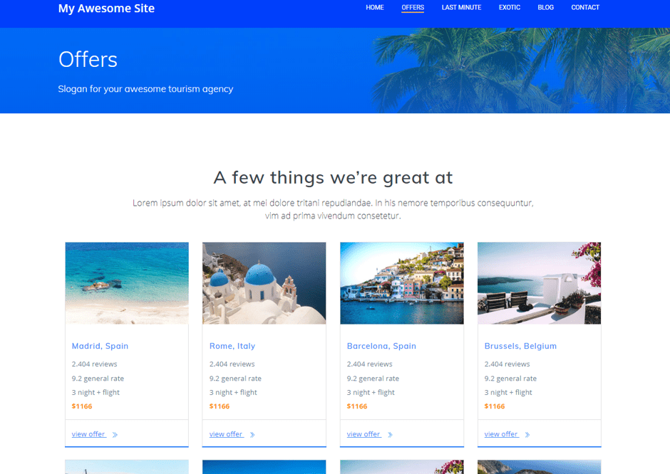 offers section in travel website design