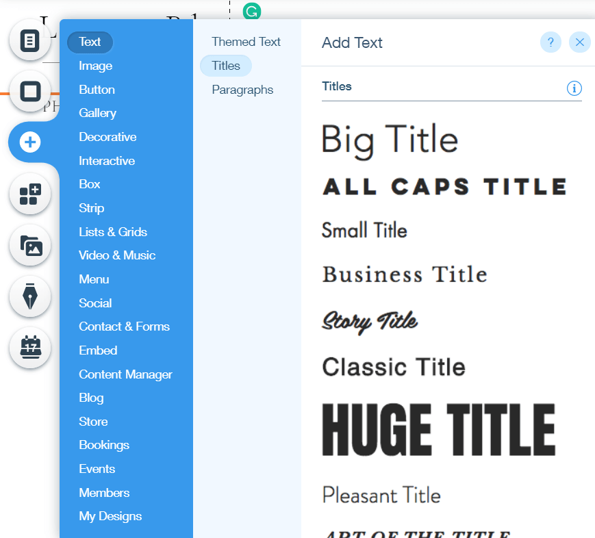 typography in Wix