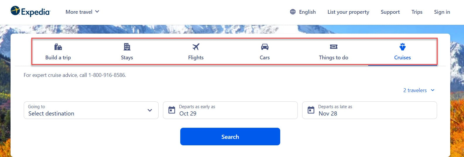 Expedia is using tabs for services