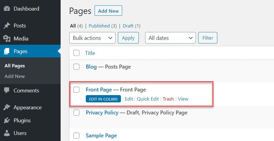 Edit a page in WordPress