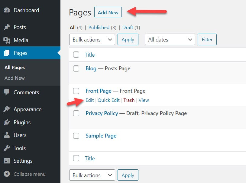 Edit pages in the default WordPress editor